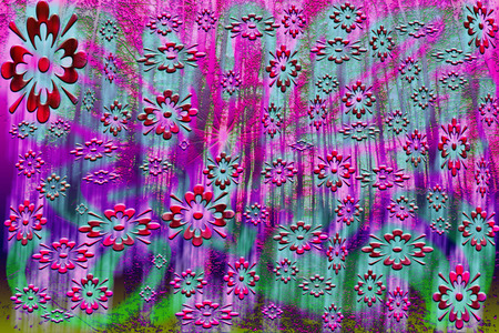 psychedelia: A colorful abstract psychedelic background image of a forest and flower pattern. Stock Photo