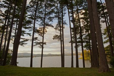 berkshire: Sunset view on Pontoosuc Lake in the Berkshire Mountains of Western Massachusetts. Stock Photo
