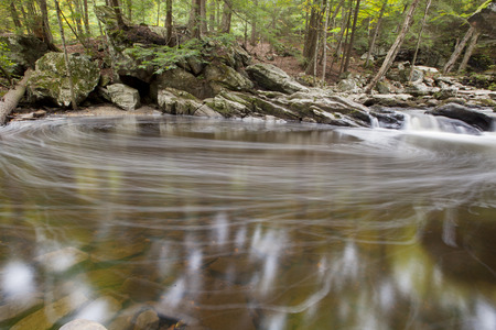A long exposure view of flowing water at Wahconah Falls Brook.