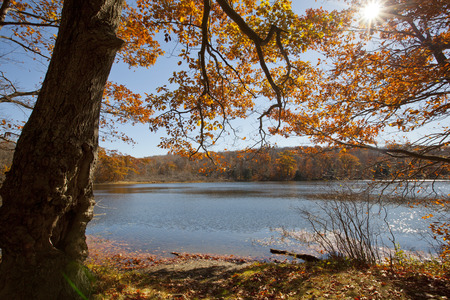 An autumn view of Berry Pond in the Berkshire Mountains of Western Massachusetts.