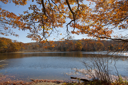 berkshire: An autumn view of Berry Pond in the Berkshire Mountains of Western Massachusetts.