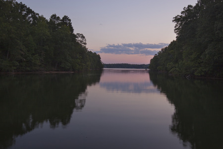 A twilight view of Lake Norman in North Carolina.