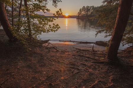 A sunset view of Lake Norman in North Carolina. Stock Photo