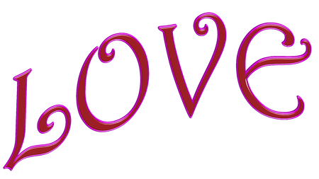 english letters: The word love in pink 3d letters.