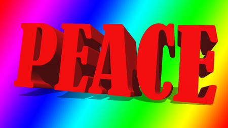The word peace against a rainbow colored gradient background.