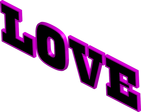 english letters: The word love in 3d black and pink colored letters.