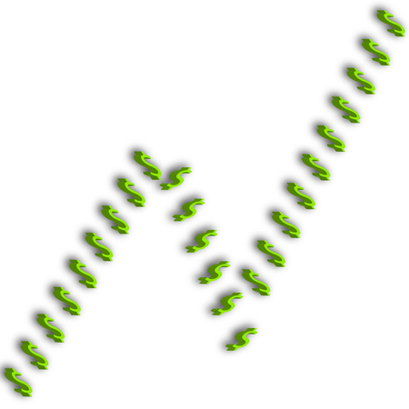 A line chart design of 3d green dollar signs.