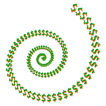 A spiral of 3d shaped dollar signs. Illustration