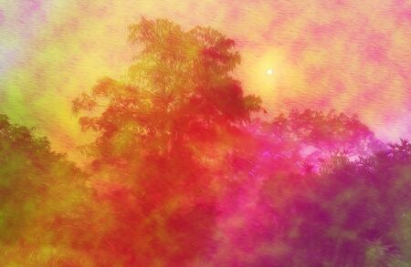 An abstract blurry landscape photo manipulation.