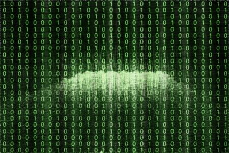 An abstract green and black binary code background image.