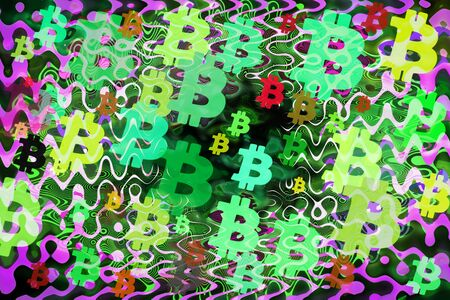 An abstract psychedelic bitcoin symbol background image.