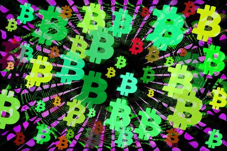 An abstract psychedelic bitcoin symbol background image. 写真素材 - 142150172