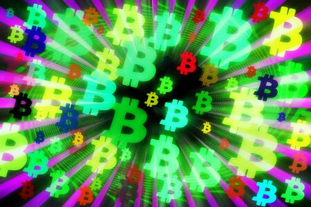 An abstract psychedelic bitcoin symbol background image. 写真素材 - 142150173