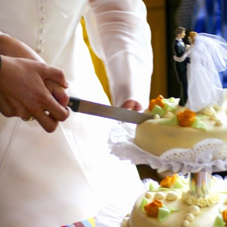cutting cake Stock Photo