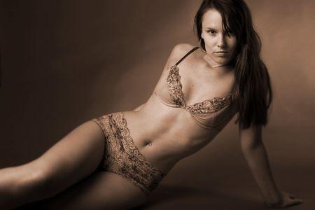 hot lingerie girl Stock Photo