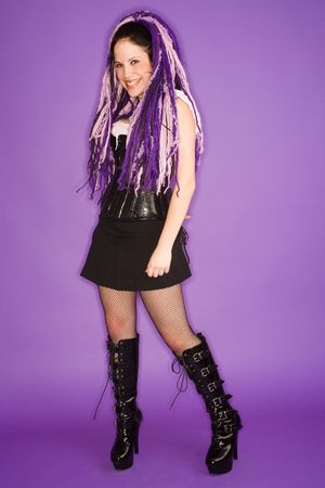 dreads: girl with purple dreads Stock Photo