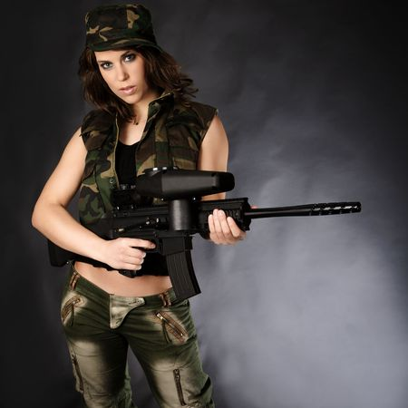 Sexy Girl with paintball marker