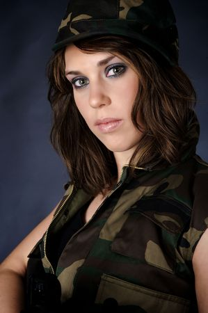 Hot girl in army clothing photo
