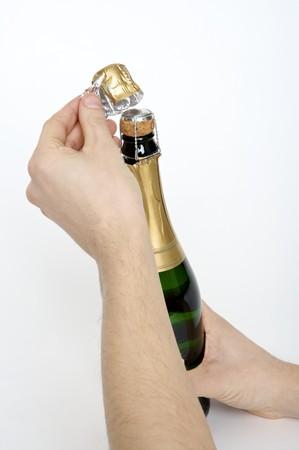 opening a bottle Archivio Fotografico