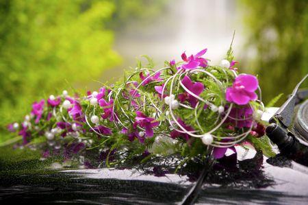 Flowers on a car