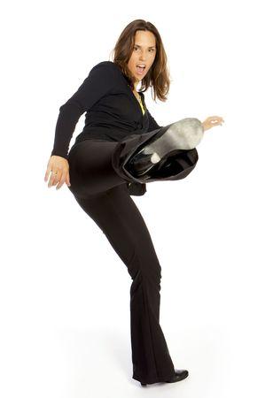 kicking young woman