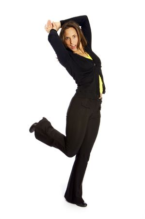 happy dancing woman Stock Photo