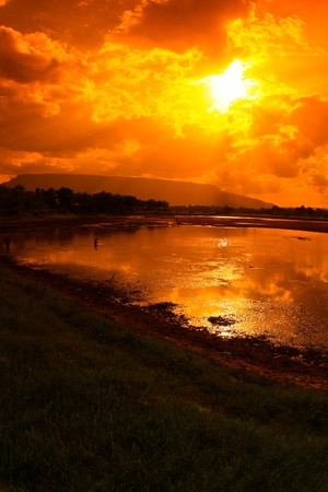 sunset on the mountain photo