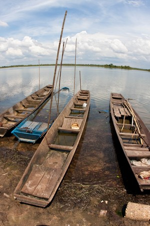 slow boat on the lake photo