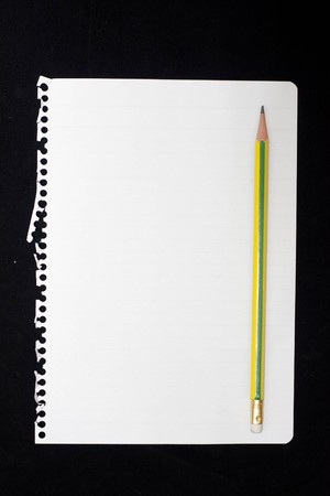red pencil: paper notes. Stock Photo