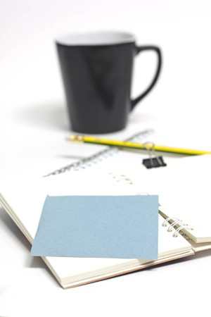 paper note and one coffee. photo