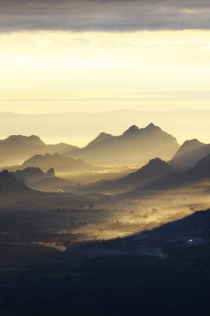 in the morning on the mountain