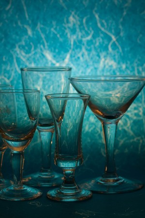 glass on blue background Stock Photo - 7498168