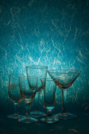 glass on blue background photo