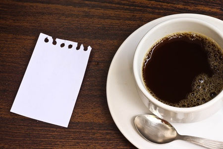 coffee cup and paper note Stock Photo
