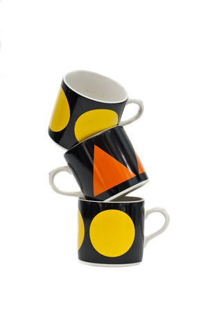coffee cup tower on white background. photo