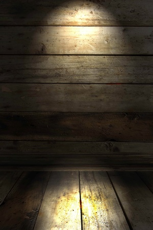 lighting on the old wood wall photo