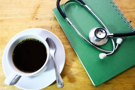 steaming coffee: coffee and stethoscope