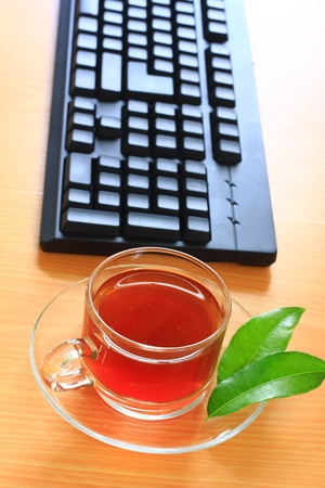 green tea with keyboard photo