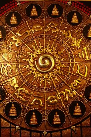 antique asian: golden buddha background