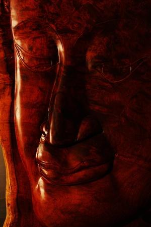 thai wood buddha sculp ture photo