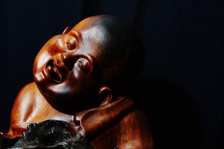 chinese wood buddha sculp ture photo