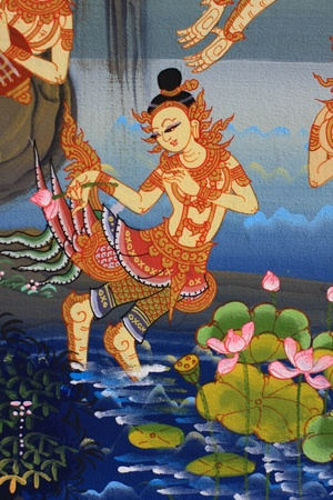 thai painting: on the wall in thai temple