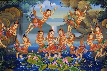 태국어 사원에서 벽에 에디토리얼