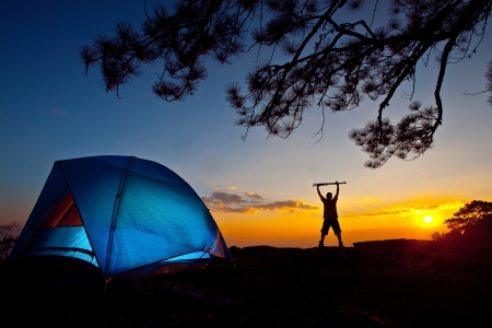 camping tent: camping on the mountain Stock Photo