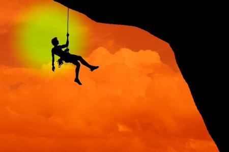 rockclimber: goal Stock Photo