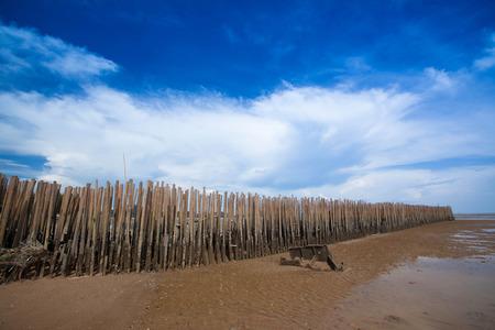De golfbreker maakte 8203; 8203; van bamboe Stockfoto
