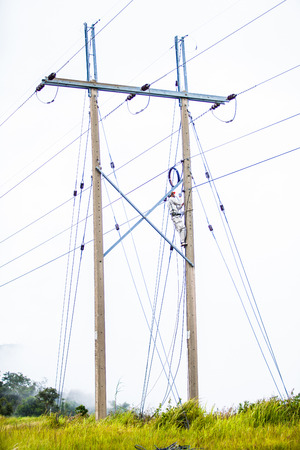 Men are connecting wires on electric poles  photo