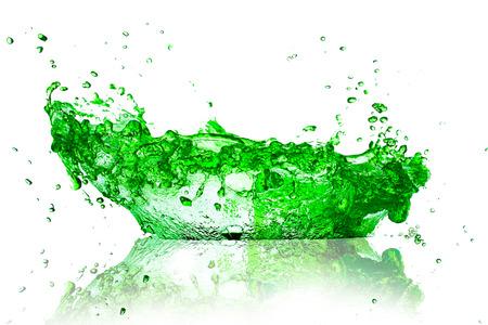 green water splash on white background  photo