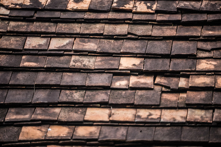 cedar shakes: Terracotta tiled roof of an ancient form. Stock Photo