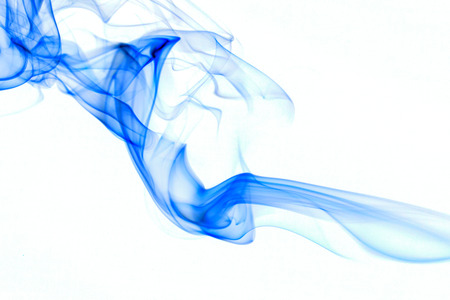 blue smke on white background. Stock Photo